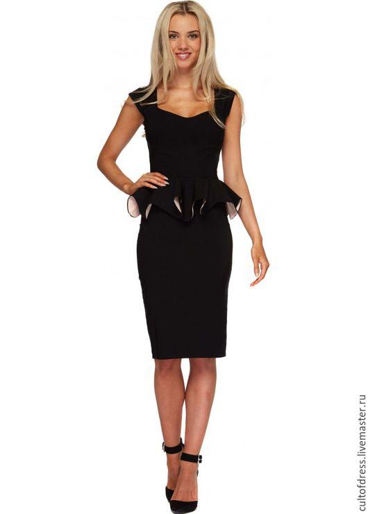 Платья ручной работы. Ярмарка Мастеров - ручная работа. Купить Платье в офис. Handmade. Черный, платье, платье по колено