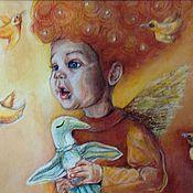 Картины и панно handmade. Livemaster - original item A little angel with birds. Handmade.