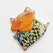 """Украшения ручной работы. Ярмарка Мастеров - ручная работа Брошь """"Танцующий котя"""" (0192). Handmade."""