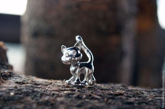 """Кулоны, подвески ручной работы. Ярмарка Мастеров - ручная работа. Купить Подвеска """"Кошка"""" из серебра 925 пробы. Handmade. Серебряный"""