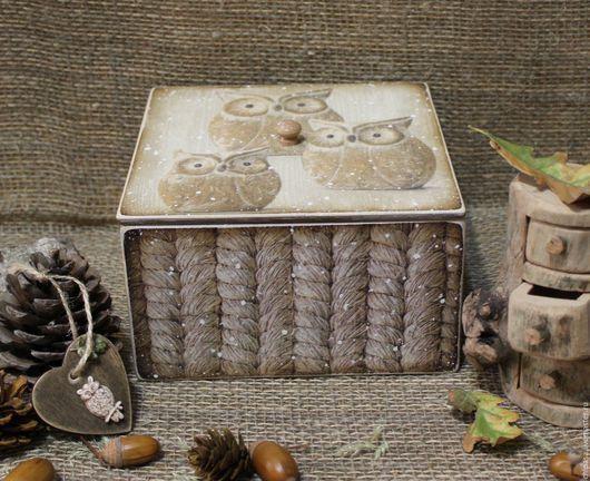 """Корзины, коробы ручной работы. Ярмарка Мастеров - ручная работа. Купить Короб  """" Совушки """". Handmade. Разноцветный"""