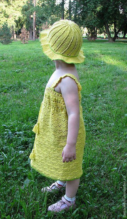 Одежда для девочек, ручной работы. Ярмарка Мастеров - ручная работа. Купить Ажурный желтый сарафан для девочки и Шляпка. Handmade. Желтый