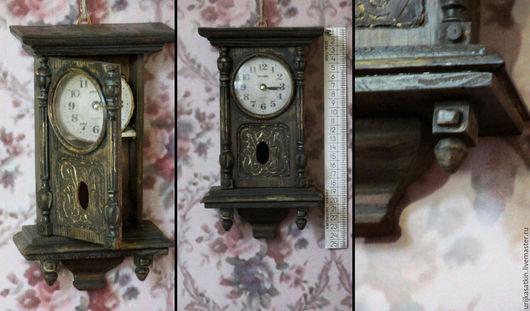 Кукольный дом ручной работы. Ярмарка Мастеров - ручная работа. Купить Старинные настенные часы( кукольная миниатюра). Handmade. Коричневый