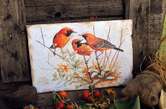 """Животные ручной работы. Ярмарка Мастеров - ручная работа. Купить Панно настенное """" Рыжие птицы"""", для интерьера. Handmade. Рыжий"""