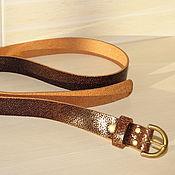 Ремни ручной работы. Ярмарка Мастеров - ручная работа Ремень кожаный женский коричневый Шагрень 2,5 см. Handmade.