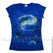 Одежда handmade. Livemaster - original item T-shirt  hand painted  space. Handmade.