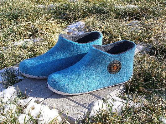 """Обувь ручной работы. Ярмарка Мастеров - ручная работа. Купить Тапочки """"Бирюза"""". Handmade. Бирюзовый, тапоч, кардочёсанная шерсть"""