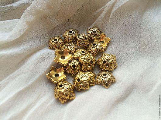 Для украшений ручной работы. Ярмарка Мастеров - ручная работа. Купить Шапочка для бусин «Дуб»,золото,10х4 мм.. Handmade.
