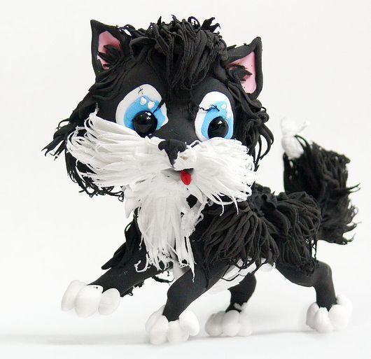 """Игрушки животные, ручной работы. Ярмарка Мастеров - ручная работа. Купить фигурка """"Пушистый котёнок"""". Handmade. Кот, кошка, пушистик"""
