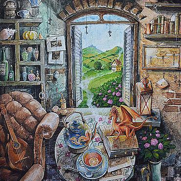 """Картины и панно ручной работы. Ярмарка Мастеров - ручная работа """"Чай с драконом"""". Handmade."""