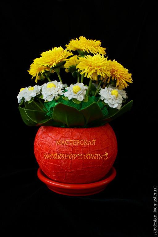 Интерьерные композиции ручной работы. Ярмарка Мастеров - ручная работа. Купить Яркие одуванчики. Handmade. Разноцветный, синие цветы