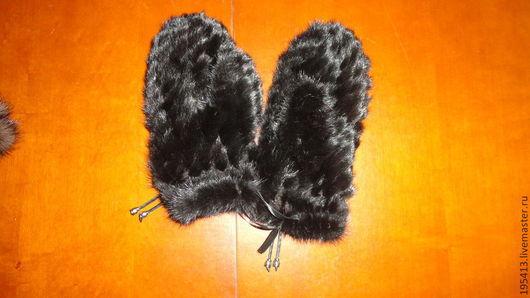 Варежки, митенки, перчатки ручной работы. Ярмарка Мастеров - ручная работа. Купить Варежки меховые для женщин(мех норки)норка вязаная. Handmade.