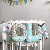 Детская подушка ручной работы. Ярмарка Мастеров - ручная работа Буквы подушки серо-бирюзовой расцветки. Handmade.