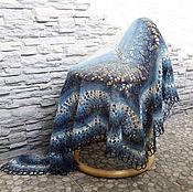 """Аксессуары ручной работы. Ярмарка Мастеров - ручная работа Шаль """"Зимний вечер"""" вязаная ажурная, мохер, шерсть, синий, джинс. Handmade."""