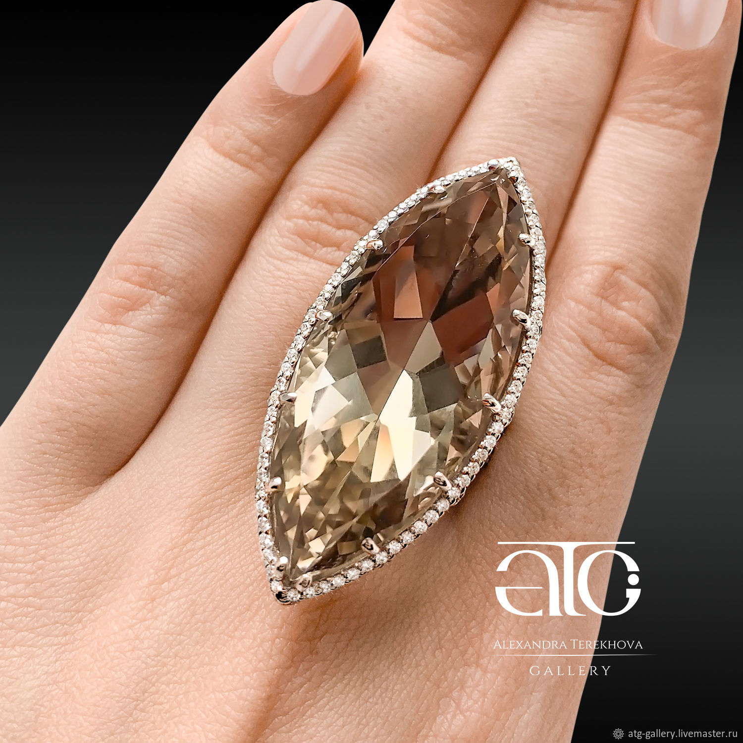 Large ring with polychrome citrine 67 Ct. silver 925, gold 585, Rings, Moscow,  Фото №1
