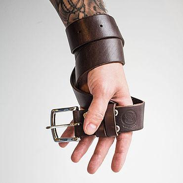 Accessories handmade. Livemaster - original item Brown genuine leather belt.. Handmade.
