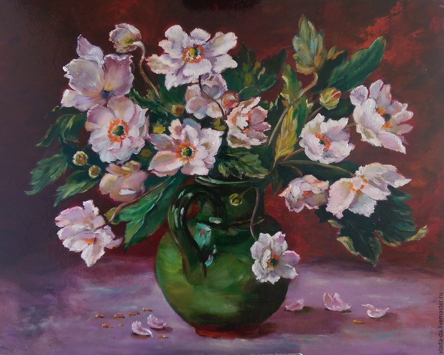 Oil Painting White Flowers In Green Jug Shop Online On Livemaster