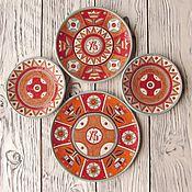 """Посуда ручной работы. Ярмарка Мастеров - ручная работа Набор керамических тарелок""""Пасхальный"""". Handmade."""