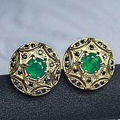 Украшения handmade. Livemaster - original item Emerald earrings with Emeralds. Handmade.