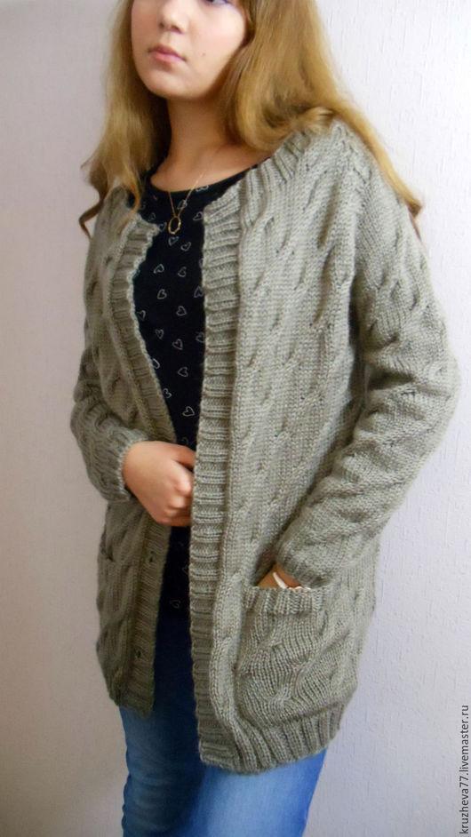"""Кофты и свитера ручной работы. Ярмарка Мастеров - ручная работа. Купить Кардиган""""Осеннее настроение"""" 42 размер из полушерсти. Handmade. Коричневый"""