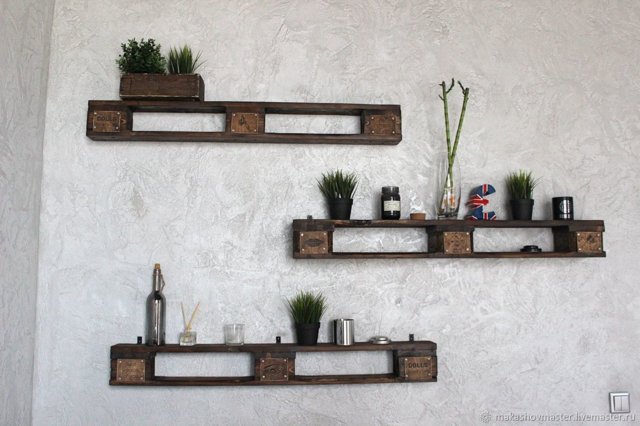 Wooden shelves with logo, Shelves, Moscow,  Фото №1