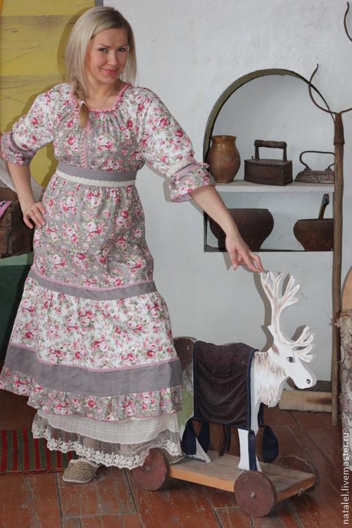 """Платья ручной работы. Ярмарка Мастеров - ручная работа. Купить Платье  """"Утренние розы"""" шеббишик  кантри прованс бохо. Handmade."""
