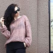 """Одежда ручной работы. Ярмарка Мастеров - ручная работа Пушистый свитер oversize  с косами """"Какао"""". Handmade."""