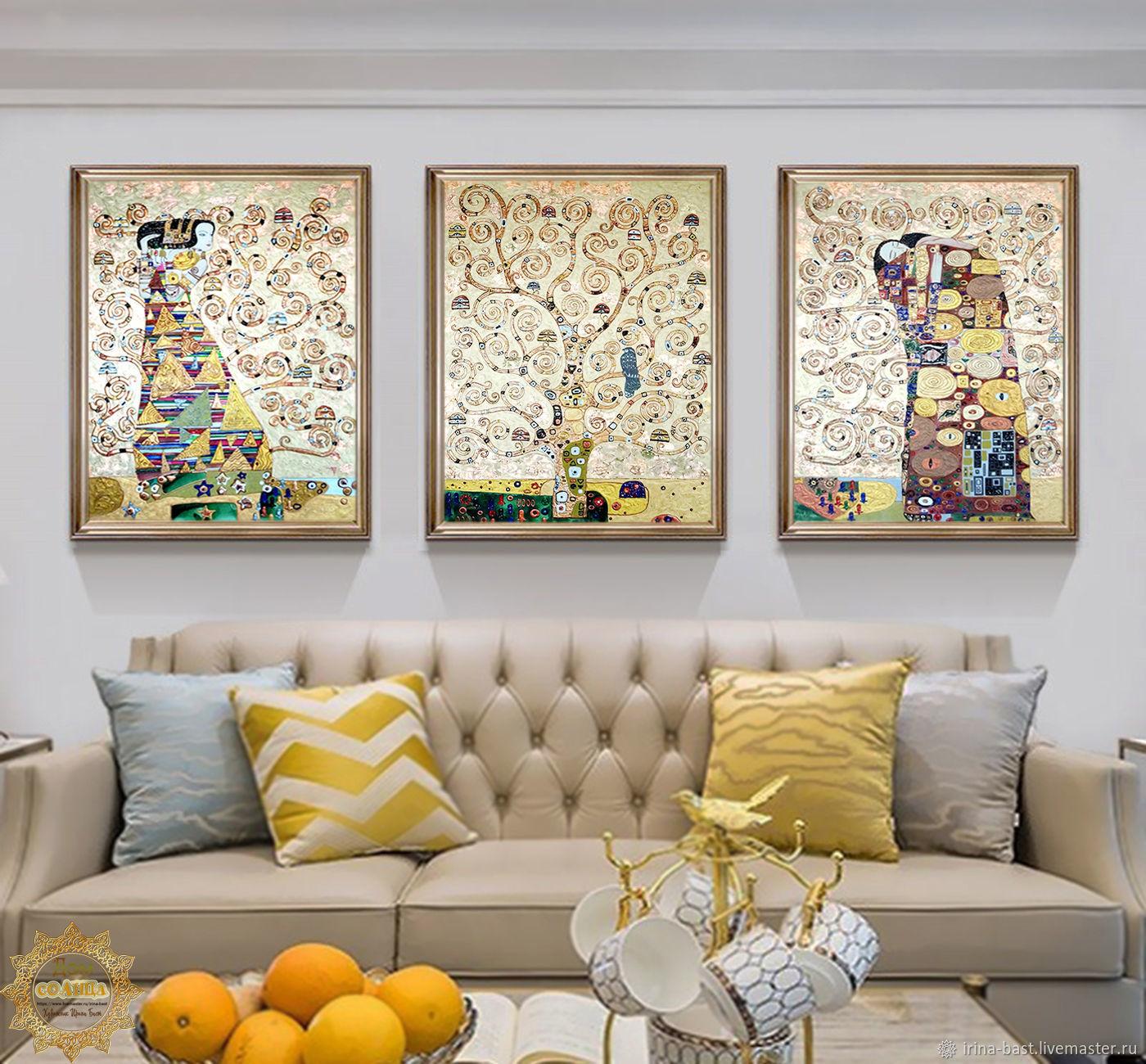 Модульная золотая  картина с поталью Древо жизни. Густав Климт, Картины, Санкт-Петербург,  Фото №1