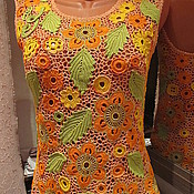 Одежда ручной работы. Ярмарка Мастеров - ручная работа Блуза Оранжевое утро. Handmade.