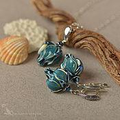 Jewelry Sets handmade. Livemaster - original item Set the depth of the lampwork 925 silver flowers buds of a sea wave. Handmade.