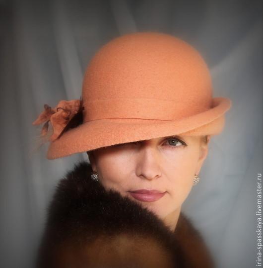 """Шляпы ручной работы. Ярмарка Мастеров - ручная работа. Купить Дамская шляпка """"Искушенная"""" из коллекции """"Холли"""". Handmade. Оранжевый, войлок"""