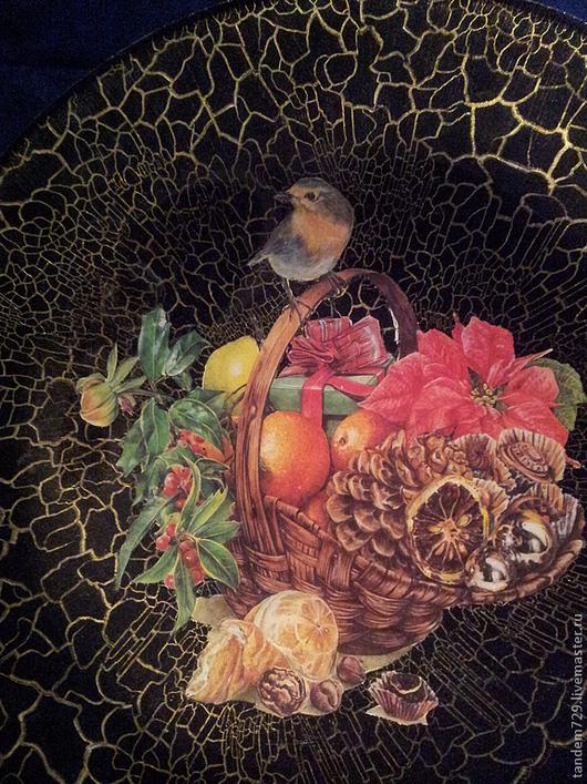 Декоративная тарелка сувенирная декупаж НАТЮРМОРТ С ПТИЧКОЙ  прекрасное украшение для интерьера в стиле винтаж и ретро, недорогой подарок на все случаи для мамы, бабушки, для свекрови с натюрмортом
