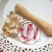 Украшения handmade. Livemaster - original item Transparent Earrings with Real Rose Petals, Cornflower. Handmade.