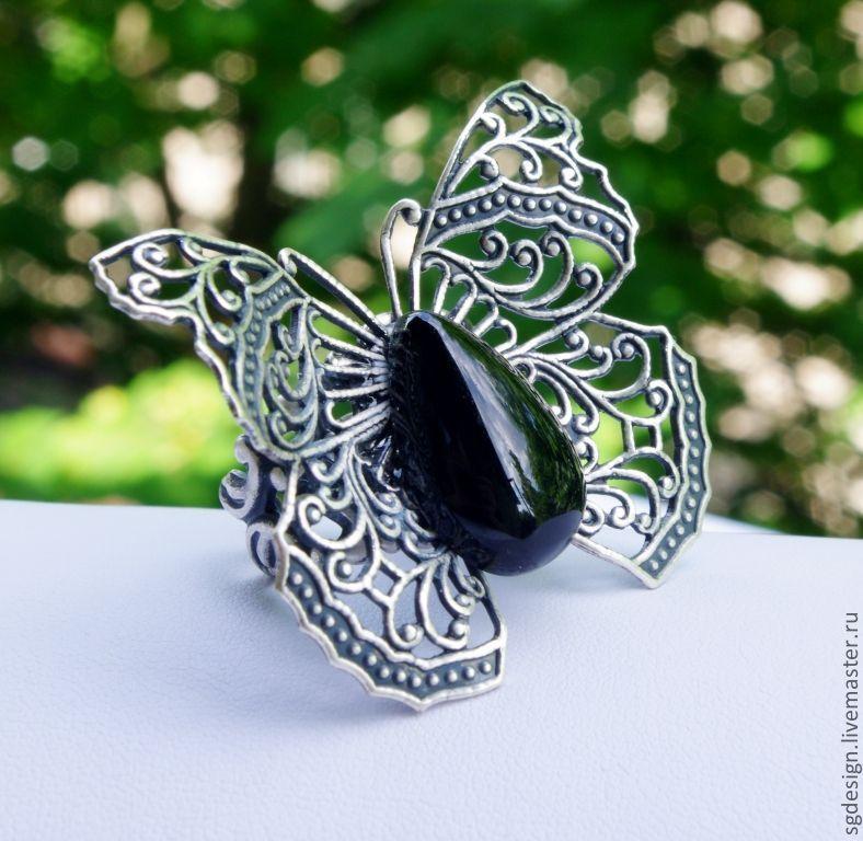 Ring 'Butterfly' Black onyx, Rings, Yalta,  Фото №1