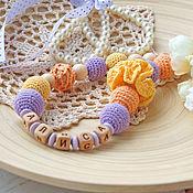 Одежда manualidades. Livemaster - hecho a mano Slingobusy con el nombre, nominativas slingobusy - lila y amarillo. Handmade.