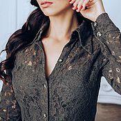 Одежда ручной работы. Ярмарка Мастеров - ручная работа Платье - рубашка хакки, кружево. Handmade.