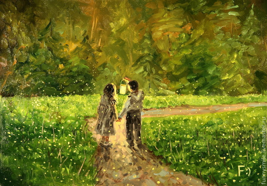 Oil painting on canvas. Fireflies first love, Pictures, Moscow,  Фото №1