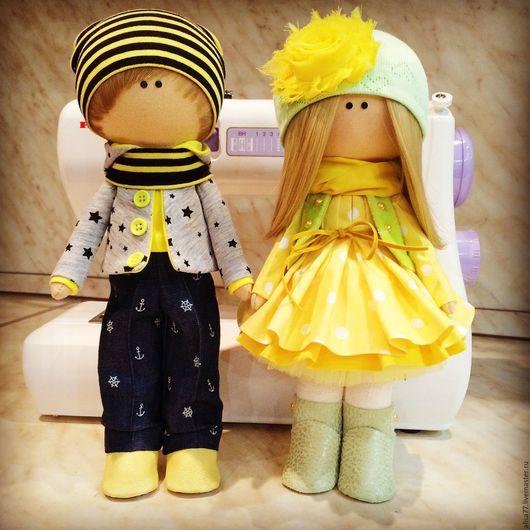 Куклы тыквоголовки ручной работы. Ярмарка Мастеров - ручная работа. Купить Интерьерная кукла. Handmade. Желтый, кукла интерьерная, трикотаж