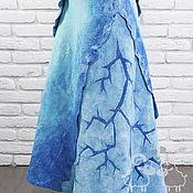 """Одежда ручной работы. Ярмарка Мастеров - ручная работа Юбка валяная """"Волна"""" синий голубой бирюза шелк шерсть. Handmade."""
