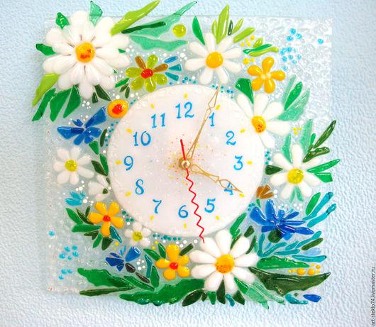 Часы для дома ручной работы. Ярмарка Мастеров - ручная работа. Купить Фьюзинг,  Часы «Ромашки». Handmade. Часы, часы для дома
