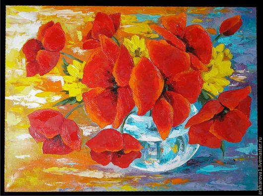 """Картины цветов ручной работы. Ярмарка Мастеров - ручная работа. Купить """"Весёлые маки"""". Handmade. Комбинированный, масло, спонж, цветы"""