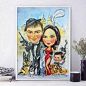 Картины и панно handmade. Livemaster - original item Cartoon Family in Chicago style, watercolor cartoon. Handmade.