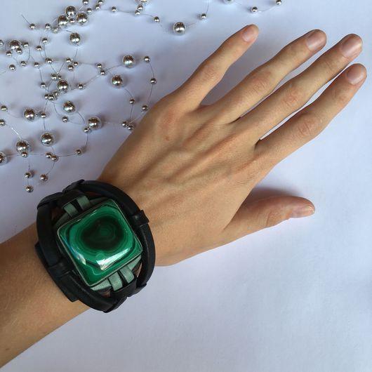 Браслеты ручной работы. Ярмарка Мастеров - ручная работа. Купить Кожаный браслет с квадратным камнем. Браслет с Малахитом. Handmade. Малахит