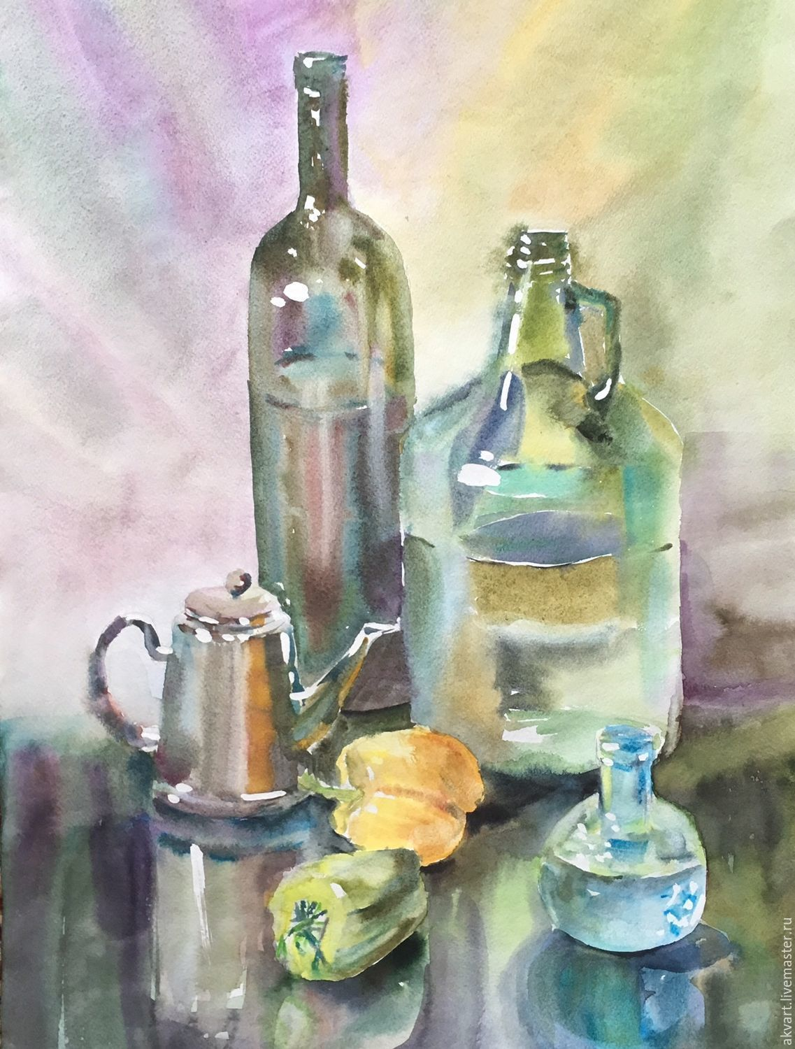 Watercolor. Painting watercolor. Still life with bottles and pepper, Pictures, Moscow,  Фото №1