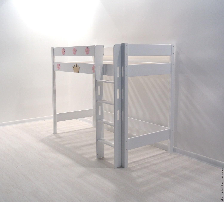 Кровать чердак Эовин беРая с короной и цветочками высота 150 см
