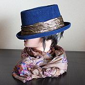 Аксессуары ручной работы. Ярмарка Мастеров - ручная работа Синяя необычайность :) шляпа женская.. Handmade.
