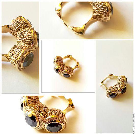 Кольца ручной работы. Ярмарка Мастеров - ручная работа. Купить Кольцо с бриллиантами золотое. Handmade. Черный, натуральные камни