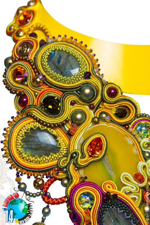 Колье, бусы ручной работы. Ярмарка Мастеров - ручная работа. Купить сутажное колье «Metamorphosis», участник B.O.T.B - 2014. Handmade.