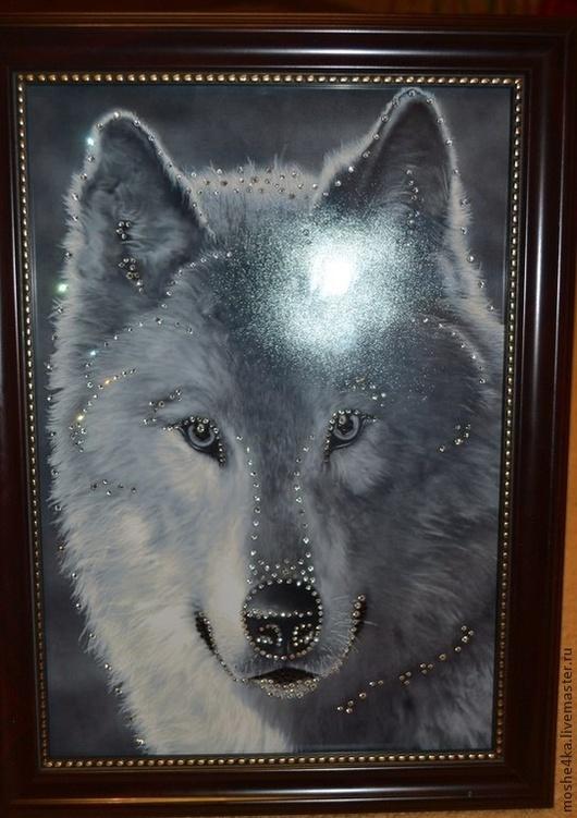 """Животные ручной работы. Ярмарка Мастеров - ручная работа. Купить Картина  """"Волк"""" с кристаллами Swarovski. Handmade. Белый, картина"""