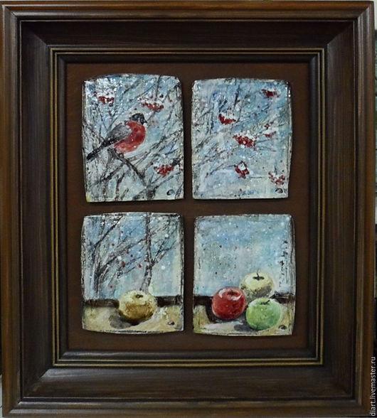 Натюрморт ручной работы. Ярмарка Мастеров - ручная работа. Купить Снегири. Handmade. Комбинированный, натюрморт, окно, домашний уют